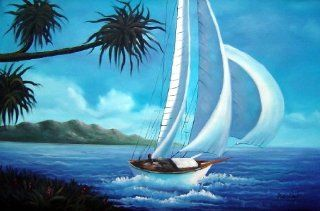 Sailing near Coast with Palm Trees Large Oil Painting 24x36 Inch, Unstretched/Unframed