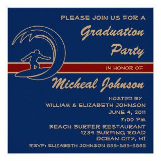 Surfer Sports Surfing Wave 2014 Graduation Party Custom Invite