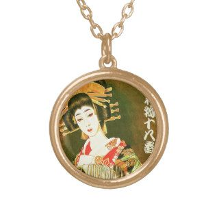 Japanese Geisha & Wasaga Paper Umbrella Art Necklaces