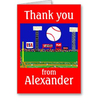 2012 Boys Baseball Personalized Thank You Notes Card