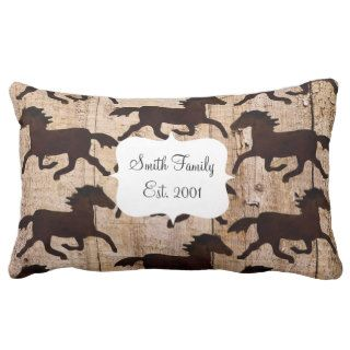 Country Western Horses on Barn Wood Cowboy Gifts Throw Pillows