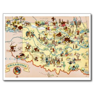 Oklahoma Funny Map Post Cards