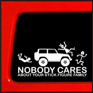 Stick Figure sticker for Jeep Family Nobody Cares funny truck white decal bumper * Automotive