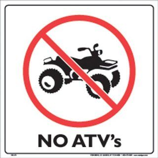 "Voss Signs White Plastic Sign 12"" No ATV's Automotive"