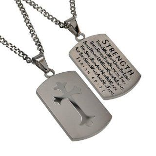 "Christian Mens Silver Stainless Steel Abstinence ""Strength   Those Who Wait Upon the Lord Shall Renew Their Strength. They Shall Mount up with Wings As Eagles; They Shall Run and Not Be Weary, and They Shall Walk and Not Faint   Isaiah 4031"" Cha"