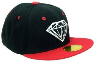 NOTHING NOWHERE Flat Bill Snapback Diamond Design Cap (Adjustable , Black / Red) Clothing