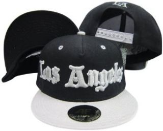 Los Angeles California Old English Raiders Colors   Black/Grey Adjustable Snapback Hat / Cap Clothing