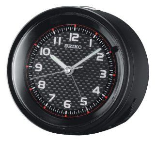 Seiko Bedside Alarm Clock Black Metallic Case Watches