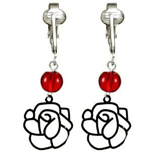 Modern Love Red Roses Clip On Earrings Valentine Collection, Unique Flower Accents w Silver Tone Couture Design for Women & Girls w Un pierced Ears Jewelry