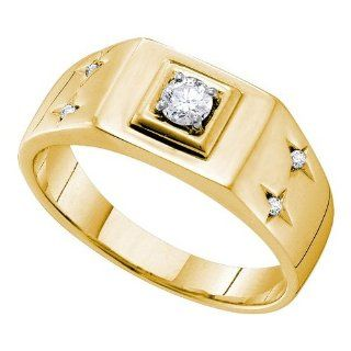 Mens Diamond Ring 0.25CTW DIAMOND FASHION MENS RING 14K Yellow gold Jewelry