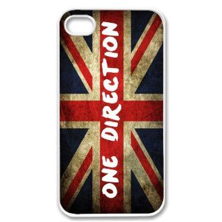 Apple iPhone 4 4G 4S British Flag One Direction Design WHITE Sides Slim HARD Case Skin Cover Protector Accessory Vintage Retro Unique AT&T Sprint Verizon Virgin Mobile Cell Phones & Accessories