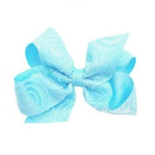 Wee Ones Girls Aqua Swirl Grosgrain Ribbon Double Bow Hair Clippie Wee Ones Clothing