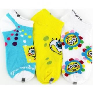 "Spongebob Squarepants ""Flower Power"" Aqua 3 Pack Kids Ankle Socks 6 8 Clothing"