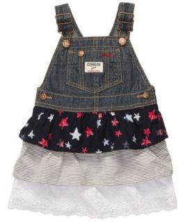 Oshkosh Baby Girls Denim Overall Jumper Dress (Nb 24m)(size 12m) Blue White Clothing