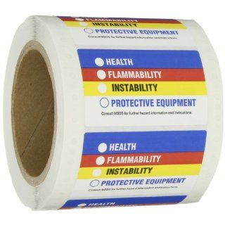 "Brady 60321 Paper Small Hmig Pin Feed Labels , Black,  Red,  Blue,  Yellow On White,  1 7/8"" Height x 3"" Width  (500 Labels per Roll, 1 Roll per Package)"