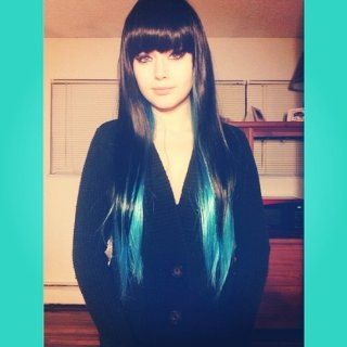 Hunnt� Black+Blue Color Fashion Womens Lady Sexy Straight Wigs Style Cosplay Long Hair