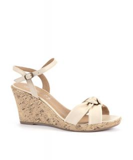 Cream Knotted Suede Wedge Sandal