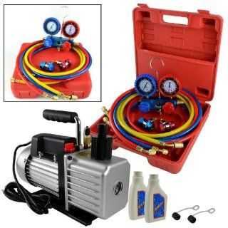 1/2HP 5 CFM Single Stage Rotary Vane Vacuum Pump w/ R134A Auto Freon AC Recharge Manifold Gauge Set Complete Combo Package
