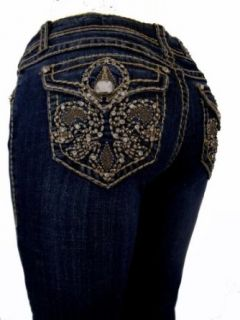 L.A. Idol Women Plus Size Capri Jeans Crystal Brown Fleur De Lis Flap Rhinestone Bold Stitch Stretch in Dark Blue Wash.