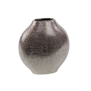 Silvertone Decorative Ceramic Vase Urban Trends Collection Vases