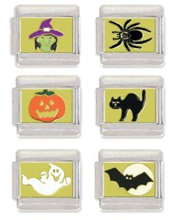 Witch, Spider, Jack O Lantern, Black Cat, Ghost and Flying Bat Italian Charm Link Set Jewelry