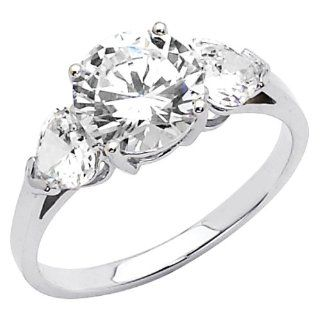 14K White Gold High Polish Finish Round cut 2.25 CTW Equivalent Three Stone Top Quality Shines CZ Cubic Zirconia Ladies Engagement Rings Jewelry