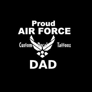 "Proud Air Force Dad Car Window Decal Sticker White 5"" Automotive"