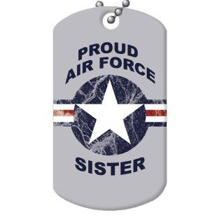 Proud Air Force Sister Dog Tag and Chain