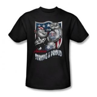 Popeye   Strong & Proud Adult T Shirt In Black Clothing