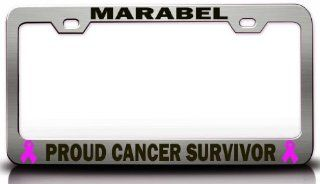 MARABEL PROUD CANCER SURVIVOR Female Cancer Survivor Metal License Plate Frame Style #1 Chrome Automotive