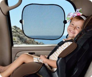 "Deluxe Sun Car Shade 2 Pack   Provides SPF 30 car window shade   Car window shades for baby   Sun Protection For Your Kids and Pets   Easy to Stick, Easy to Remove window sunshade for car   Includes a BONUS FREE Ebook ""Seat Belt Safety Tips For Kids&"