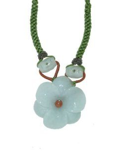 Flaunt Your Flower Power with This Jade Amaryllis Flower Necklace. Simple but Elegantly Put Together with Oval Jade Beads Made with Lime Cord Jewelry