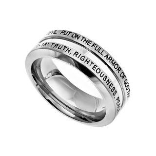"Christian Mens Stainless Steel Abstinence Ephesians 610 18 ""Put On The Full Armor Of God That You May Be Able To Stand Firm Against The Schemes Of The Devil. Truth, Righteousness, Peace, Faith, Salvation, The Word, Prayer"" Chastity Industrial Ba"