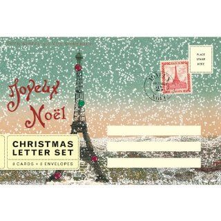 Cavallini Joyeux Noel Paris Eiffel Tower Christmas Letter Set   Blank Note Card Sets