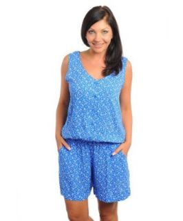 Stanzino Women's Plus Size Floral Print V neck Romper with Side Slit Pockets BLUE XL Clothing