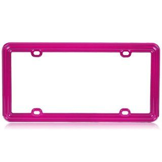 Plastic License Plate Frame in Solid Hot Pink Color  Automotive License Plate Frames