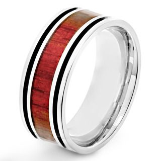 Stainless Steel Men's Red Wood Inlay and Black Enamel Stripe Ring West Coast Jewelry Men's Rings
