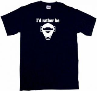I'd Rather Be Umpire Catchers Mask Logo Kids Tee Shirt Clothing