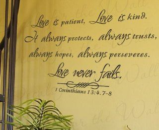 Love is Patient Kind Protects Trusts Hope 1 Corinthians 13   Inspirational Home Motivational Religious God Bible   Adhesive Vinyl Quote Art Mural, Large Wall Lettering Decal, Saying Decoration, Sticker Decor   Home Decor Product