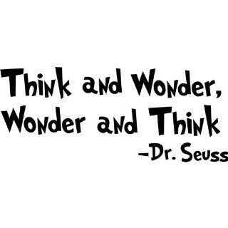 "Dr seuss Wall Decal Quotes Art Sticker ""Think and Wonder, Wonder and Think"" Nursery Wall Saying Sticker Mural Baby Kids room Wallpaper Decoration  Baby"