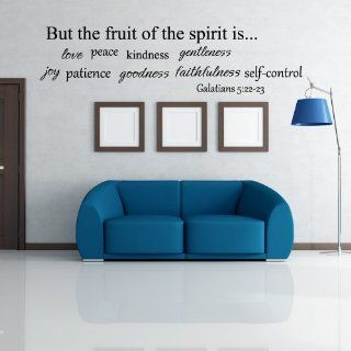 Fruit of Spirit Wall Quote Decal   Bible Wall Quote   Religious Wall Phares   Christian Wall Saying (Black, Large)   Wall Docor Stickers