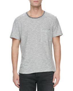 Mens Mariner Striped Short Sleeve Tee, Navy   7 For All Mankind   Navy (LARGE)