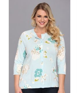 Pendleton Plus Size Floral Print Cardigan Womens Sweater (Blue)