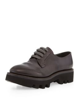 Lace Up Leather Creeper Shoe, Dark Burgundy   Brunello Cucinelli   Burgundy (37.