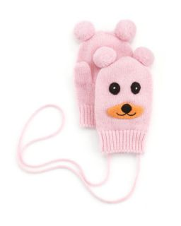 Cashmere Bear Puppet Baby Mittens, Light Pink   Portolano   Light pink (1)