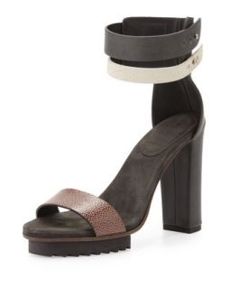 Double Ankle Wrap Platform Sandal, Black Multi   Brunello Cucinelli   Black