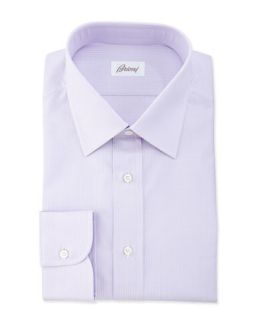 Mens Textured Striped Dress Shirt, Lavender   Brioni   Lavendar (16R)