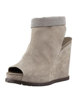 Nubuck Beaded Ankle Wedge, Gray   Brunello Cucinelli   Gray (41.0B/11.0B)