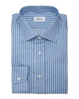 Mens Track Stripe Dress Shirt, French Blue   Brioni   Blue (15R)