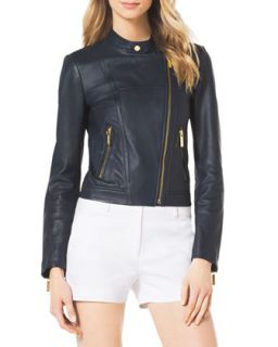 Womens Asymmetric Leather Moto Jacket   MICHAEL Michael Kors   Navy (6)